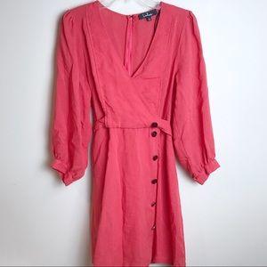 Lulu's Vintage Coral Dress V Neck Belted Button L